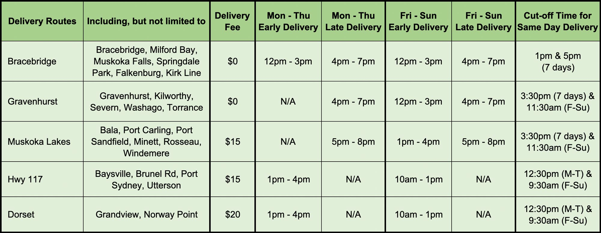 Bud Heaven Muskoka Cannabis Delivery Schedule